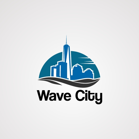 wave city logo vector with skyline on sun concept, element, icon, and template for company