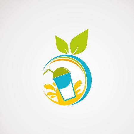 vecteur, icône, élément et modèle de logo de jus de fruits frais Logo
