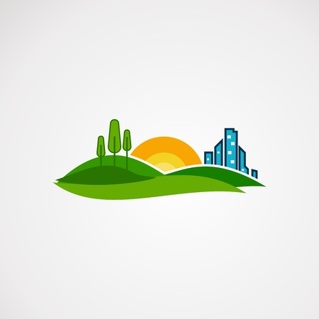 agriculture landscape logo vector, icon, element, and template for company