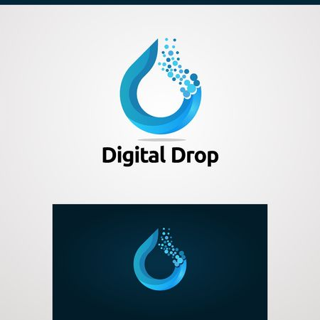 digital drop in color blue logo vector concept, icon, element, and template Çizim