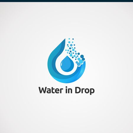 water in drop logo vector, concept, icon, element, and template for business Logo