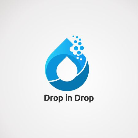 drop in drop water logo vector, icon, element, and template for company