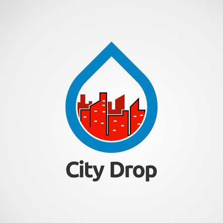 city drop logo vector with blue and red color, icon, element, and template for company