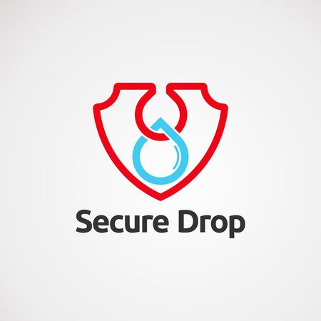 secure drop logo vector with simple touch, icon, element, and template for company Vectores