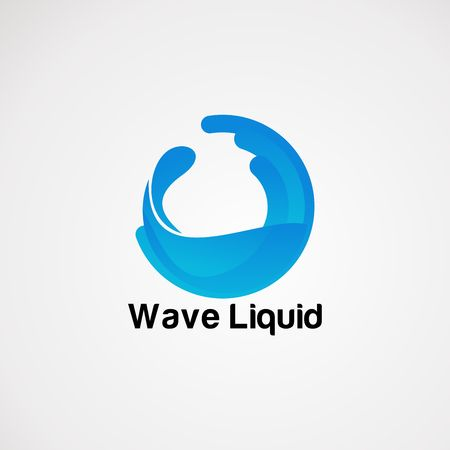 wave liquid pure blue logo vector, icon, element, and template for company