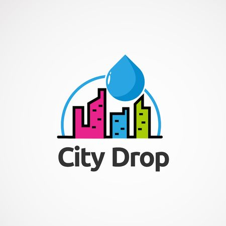 city color drop logo vector, icon, element, and template for company