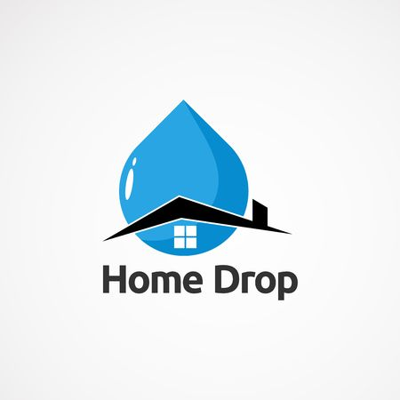 simple home drop logo vector , icon, element, and template for company Logo