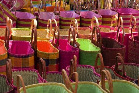 Colorful shopping bags sold in markets photo
