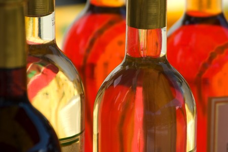 alcohol series: White wine tasting and display in an outdoor market in South of France