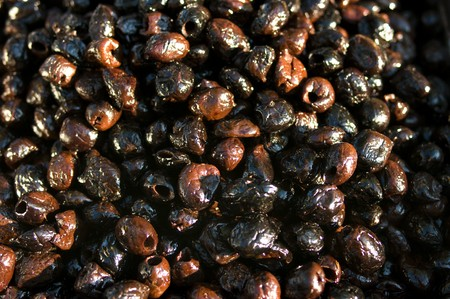 pitted: Marinated and pitted black olives