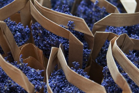 In Provence, you can find lavender wrapped in many ways Stock Photo