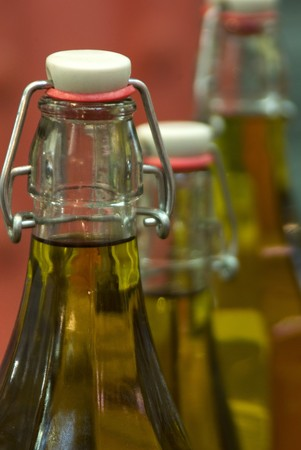 Close up of bottles of olive oil