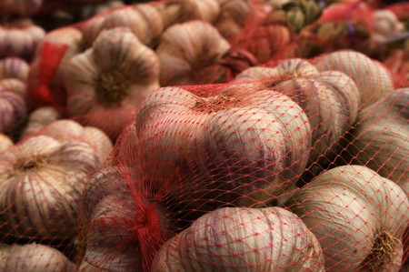 Packaged garlic sold in outdoor markets