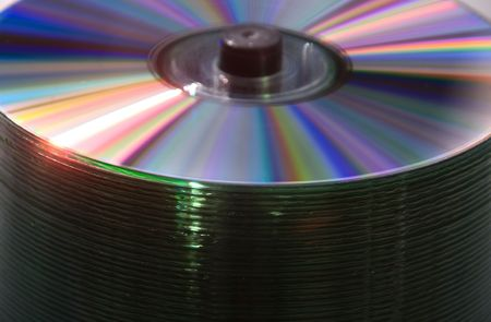 Close-up on bulk blank spindle CDs