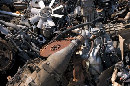 dump yard: A pile of old engines Stock Photo