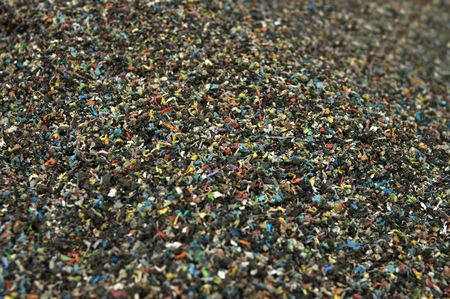 Shredded plastic from recycled cables