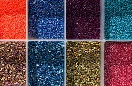 Close-up on small colorful beads Stock Photo