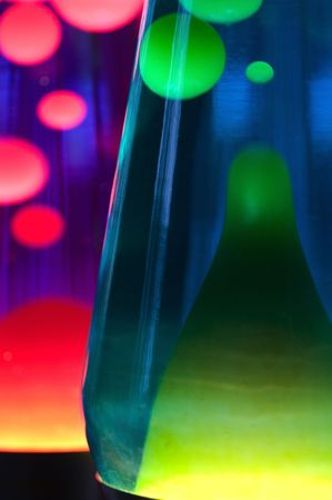 hypnotist: Close-up view of 2 lava lamps Stock Photo