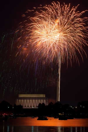 Washington DC fireworks over the Potomac River with view of Lincoln Memorial and Washington Monument Stock Photo - 14359640