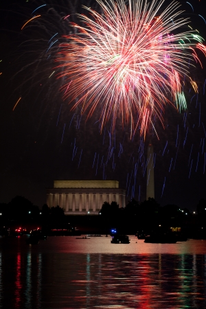 Washington DC fireworks over the Potomac River with view of Lincoln Memorial and Washington Monument Editorial