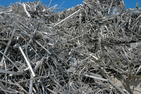 A big pile of aluminum scrap for recycling