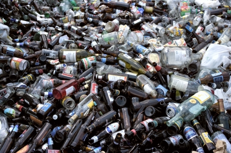 Load of glass bottles to be recycled
