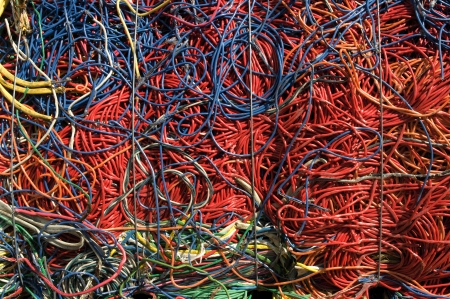 compressions: A bale of recycling communication cables  There is a mix of plastic and copper to recover  Stock Photo