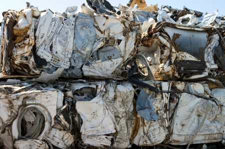 compressions: Crushed washing machines for metal recycling Stock Photo