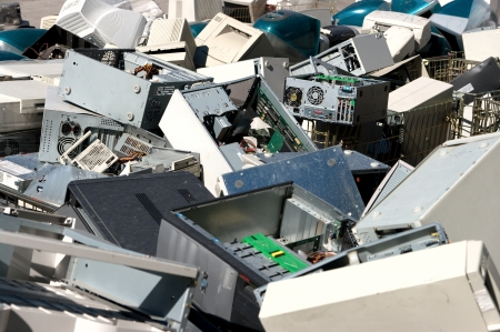 plastic waste: A pile of dismantled computer parts for electronic recycling