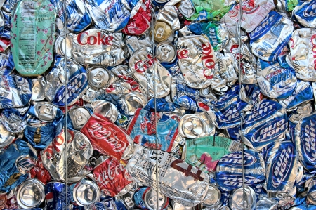 compressions: A bale of drinking cans for recycling in a facility in the US Editorial