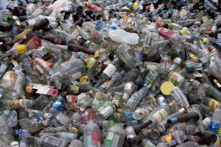 recycling center: A load of glass and plastic bottles to be sorted for recycling - In the US Editorial