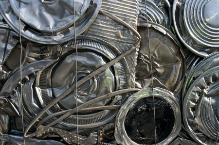 metal recycling: Hubcaps recycling at a scrapyard
