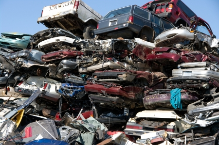 A pile of compressed cars going to be shredded