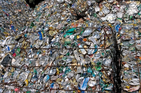 Bales of crushed cans for recycling
