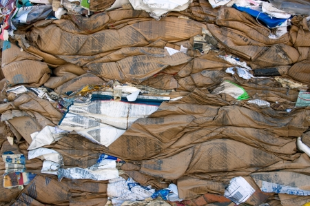 compressions: A bale of compressed cardboard for recycling Stock Photo