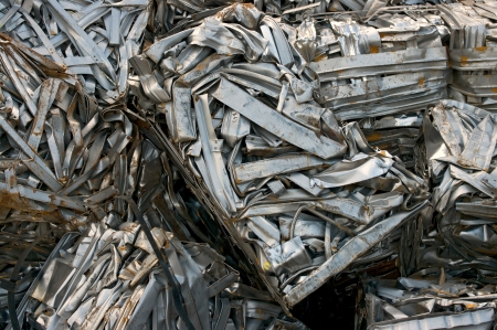 compressions: Recycling bales of metal strips Stock Photo