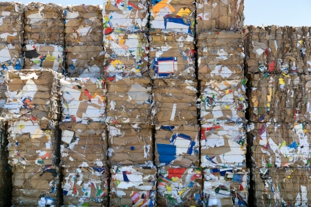 A big stack of paper bales for recycling Stock Photo