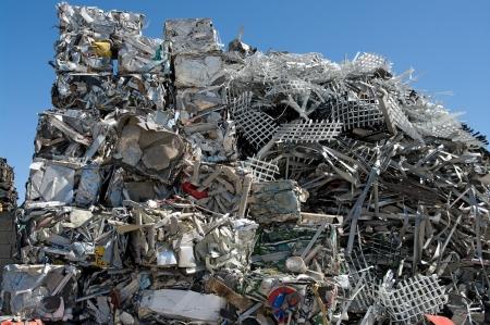Pile of scrap metal in a scrapyard