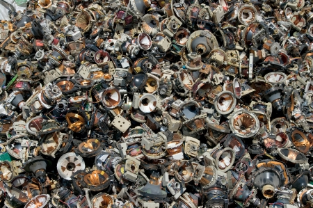 metal recycling: A pile of television speakers for recycling