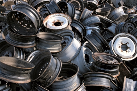 stockpiling: Rims for recycling Stock Photo