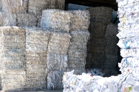 pile reuse: Bale of compressed paper for recycling