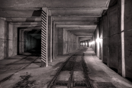 railway history: Urbex - Abandoned underground tunnel, in light HDR processing