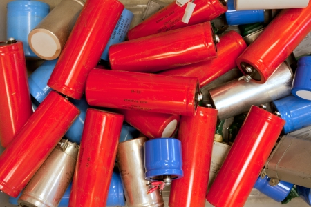 landfill site: Used and obsolete capacitors for recycling