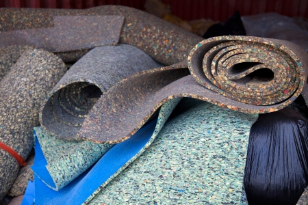 Load of carpet paddings to be recycled Stock Photo
