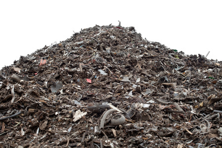 Big pile of plastic pieces separated from shredded cars.