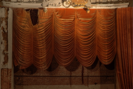 Urbex - Old velvet curtains in an abandoned theater