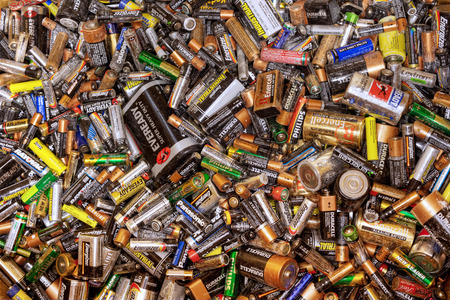 Many dead batteries gathered for recycling