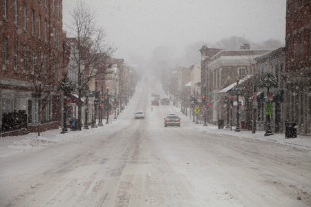 driving conditions: Mid Atlantic Winter storm on February 3, 2014 in Washington, DC