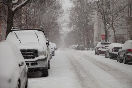 Street of Georgetown in Washington DC under snow