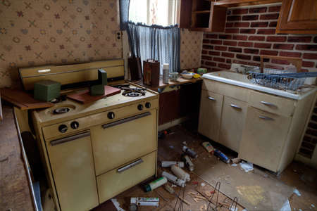 trashed: Abandoned house s kitchen with spray cans laying on the floor